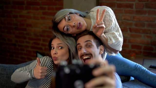 happy young people taking selfie at home - miroslav mitic stock videos and b-roll footage