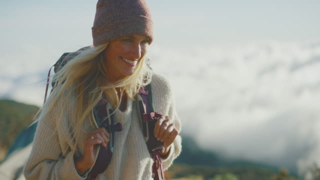 Happy Young Woman Hiking video