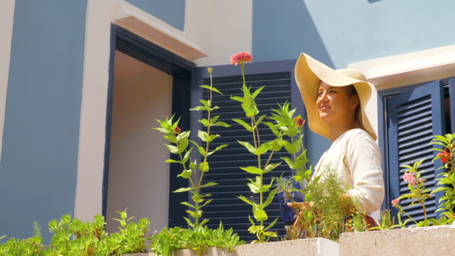 Happy young woman on a blue house balcony garden watering plants. Fashion white shirt and large hat. Ponza island, Italy.
