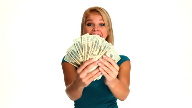HD: Happy Young Woman with Money video