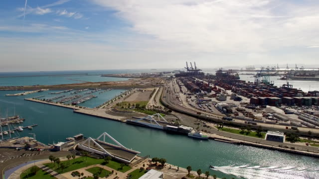AERIAL Harbor in Valencia video