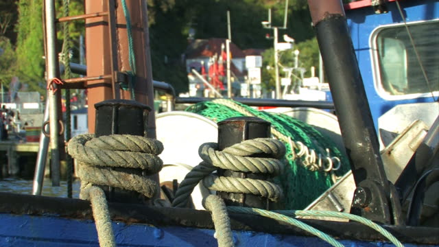 Harbor with fishing boat video