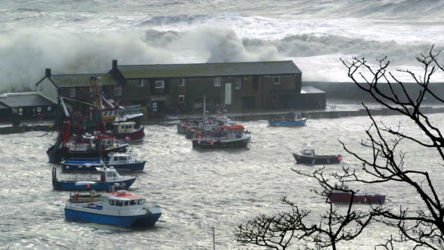 Harbour (harbour) battered by storm waves Lyme Regis Harbour being battered by waves during a storm. Very high spring tide coastal feature stock videos & royalty-free footage