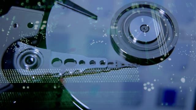 ハード ディスク ・ ドライブ読み取りヘッド。サイバー セキュリティの概念。 - バックアップ点の映像素材/bロール