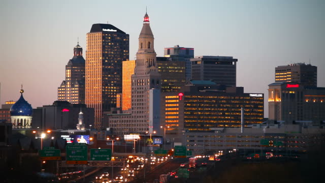 Hartford, Connecticut Interstate 91 traffic through downtown Hartford, Connecticut during rush hour connecticut stock videos & royalty-free footage