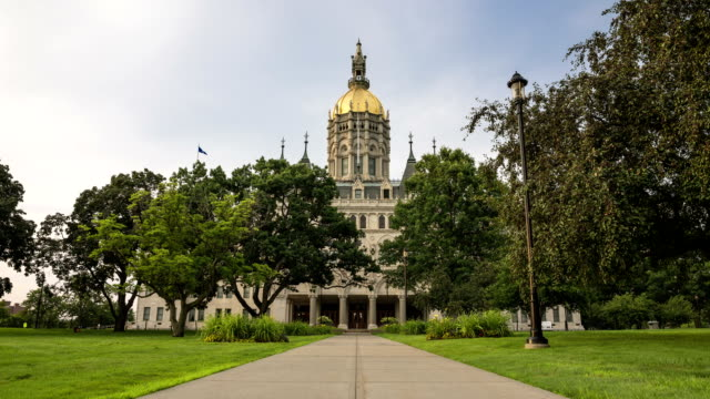 Hartford, CT capitol time-lapse day to night HD day to night transition time-lapse of Hartford, CT State Capitol building in the summer of 2015, front entrance, view from Capitol Ave. connecticut stock videos & royalty-free footage