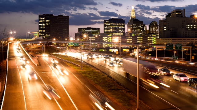 Hartford, CT rush hour Time-lapse of Hartford rush hour traffic at twilight. connecticut stock videos & royalty-free footage