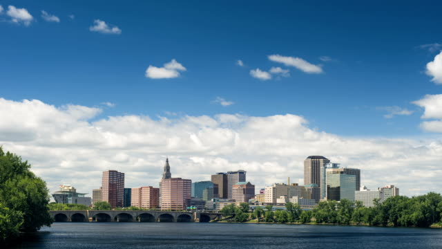 Hartford, CT Timelapse of City of Hartford, CT with Connecticut river and slowly rolling clouds. connecticut stock videos & royalty-free footage
