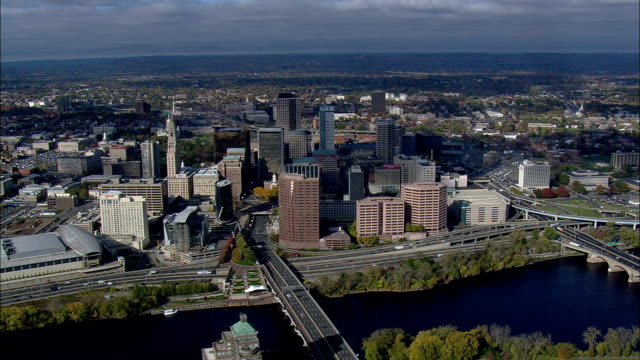 Hartford From the East  - Aerial View - Connecticut,  Hartford County,  United States This clip was filmed by Skyworks on HDCAM SR 4:4:4 using the Cineflex gimbal. Connecticut,  Hartford County,   United States connecticut stock videos & royalty-free footage