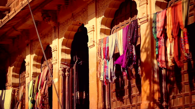 Haveli on Jaisalmer Fort, with pashminas shawls swaying with the wind. video