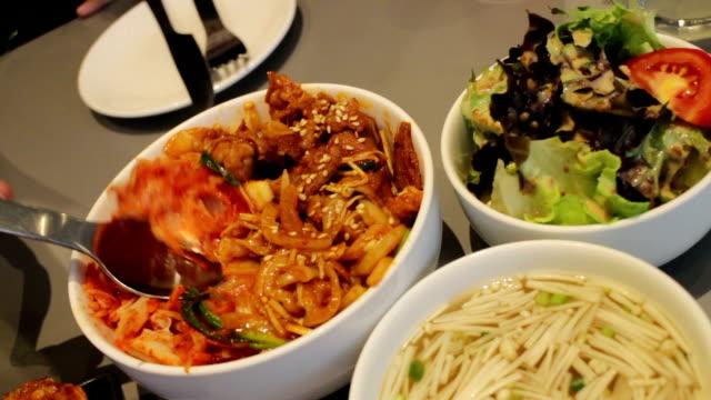 Having Meal With Korean Cuisine Having Meal With Korean Cuisine, stock video sesame stock videos & royalty-free footage