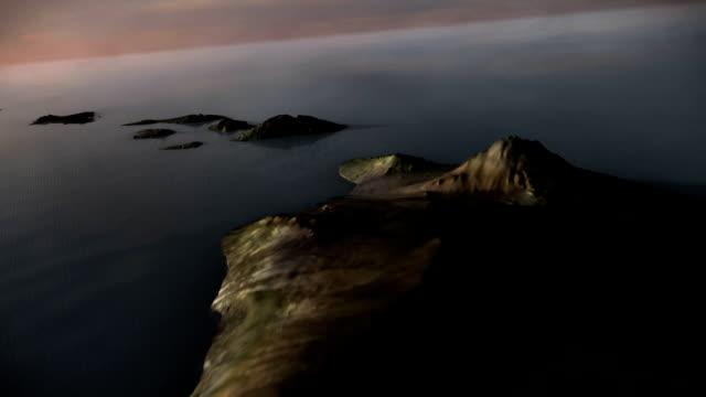 Hawaii Aerial High-altitude flyover of Hawaiian islands at sunset.  (CGI) big island hawaii islands stock videos & royalty-free footage