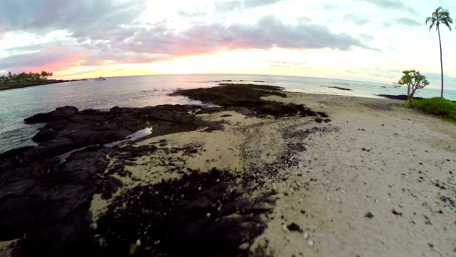 Hawaii Sunset Aerial Flying along the coastline on the Big Island, Hawaii big island hawaii islands stock videos & royalty-free footage