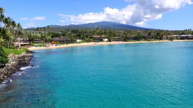 Hawaiian Bay by Drone with Clear Water A bay in the West side of Maui; video shot on by a Drone. big island hawaii islands stock videos & royalty-free footage