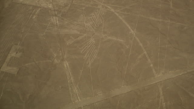 Hawk Figure Geoglyph in Nazca Desert, Peru video