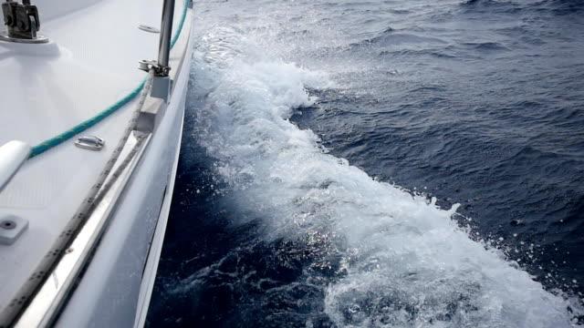Hawser yacht on a background of sea waves in Greece. In general plan. video