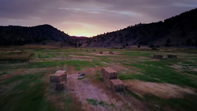 hay bales in oregon farmland - drone shot - ovest video stock e b–roll