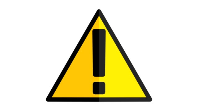 vídeos de stock e filmes b-roll de hazard warning sign with exclamation mark symbol icon yellow - perigo
