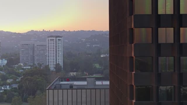 Hazy Sunset in Century City, Los Angeles - Drone Shot video