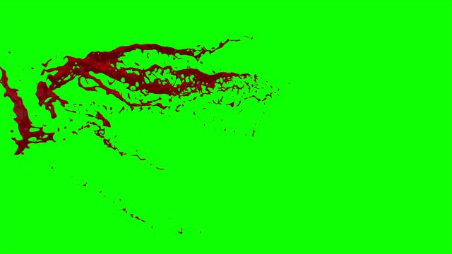 stockvideo's en b-roll-footage met hd bloed barsten slow motion (groen scherm) 54 - bespatterd