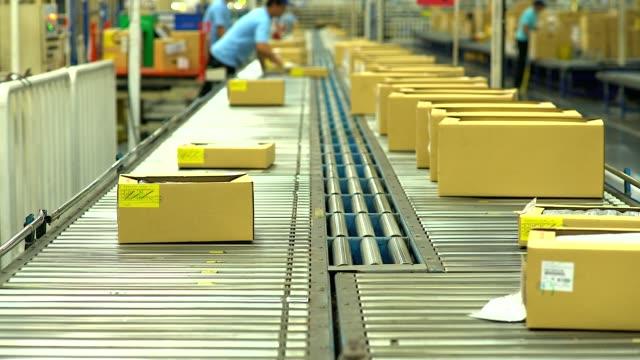 HD:Carton box moving on conveyor rollers. video