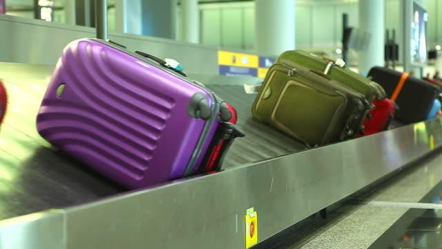 HD:Colorful baggage belt moving. video