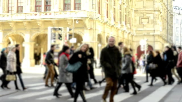 HD:Crowd people walking on the road,Vienna. video