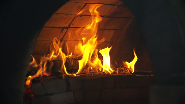 HD:Flames in fireplace.(Slow motion) video