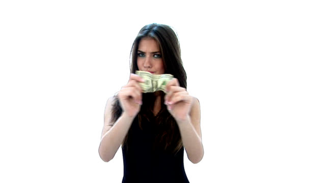 HD:Girl stretches a dollar video
