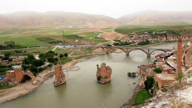 HD:Hasankeyf, Batman, TURKEY View from castle of City of Hasankeyf mardin stock videos & royalty-free footage