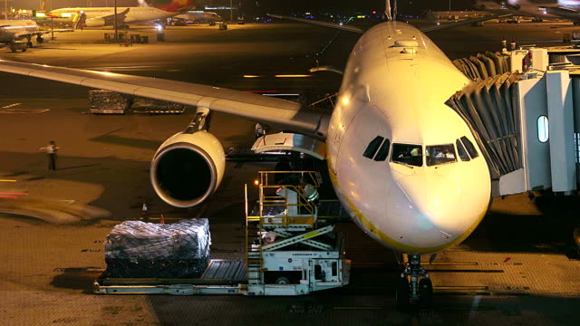 HD:Loading cargo operation for commercial airplane at night. video