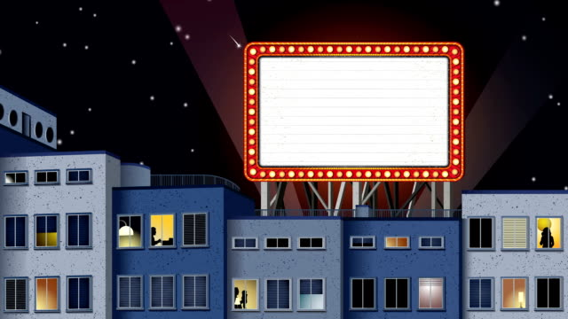 HD-loopable marquee at night with light beams and people video