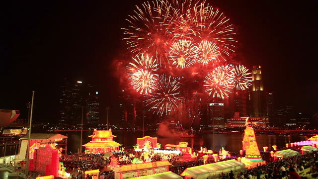 HD:Lunar New Year celebrations at Singapore. Lantern festival,Fire work in lunar new year cerebration at marina bay in singapore. chinese new year stock videos & royalty-free footage