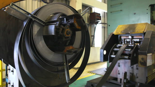 HD:manufacture workshop operating metal press machine. Manufacture workshop operating metal press machine. stamping feet stock videos & royalty-free footage