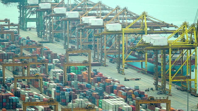 HD:Operation at container yard. video