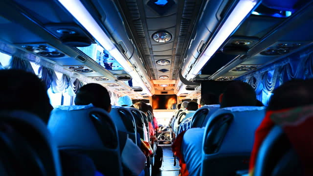 HD:People during travel in the bus. video