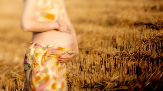 HD,Pregnant woman and landscape video