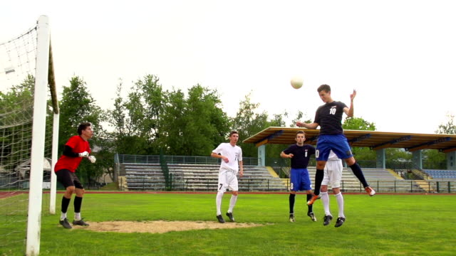 HD:Shot of Soccer Players at Scoring Action video