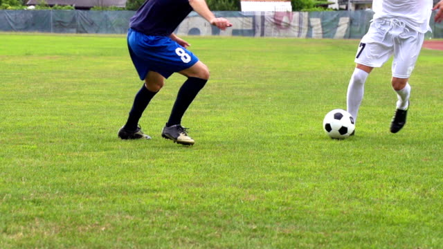 HD:Shot of Two Male Soccer Players Dribbling video