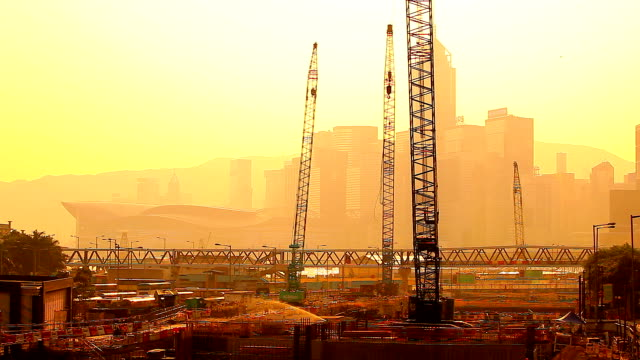 HD:Silhouette scene construction in Hongkong.(Timelapse) video