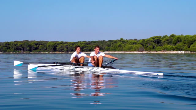 HD:Super Slo-Mo Shot of Double scull rowing team practicing video