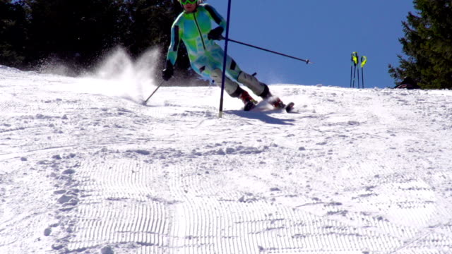 HD:Super-Slo-Mo: Professional Skier Practicing Slalom video