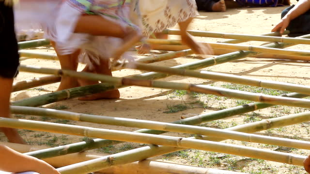 HD:Traditional karen dance with bamboo stick.(Original sound) video