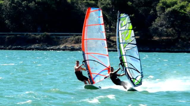 HD:Two windsurfers racing at regatta video