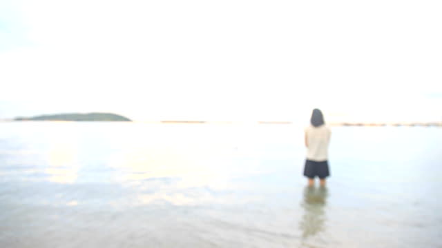HD:Woman standing by sea video