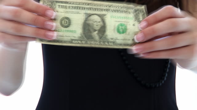 HD:Woman stretches a dollar video