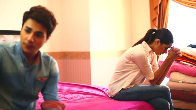 HD:Young couple after conflict. video