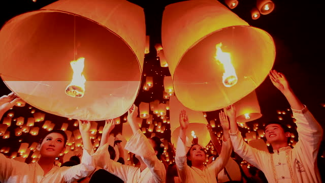 HD:Young people release floating lanterns to the sky. video