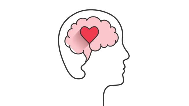 vídeos de stock e filmes b-roll de head, brain and heart shape concept - cérebro humano