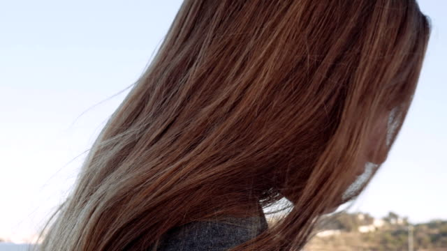 Head of a girl with long red hair, hair moving in the wind. video